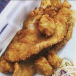 Fried fish and okra. Ravene's Seafood, Ravenel SC.